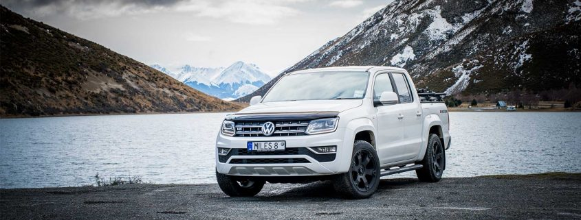 Volkswagen Amarok V6 in white by a lake