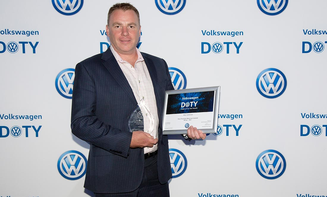 Stephen Kelly accepts the award for Marketing Campaign of the Year