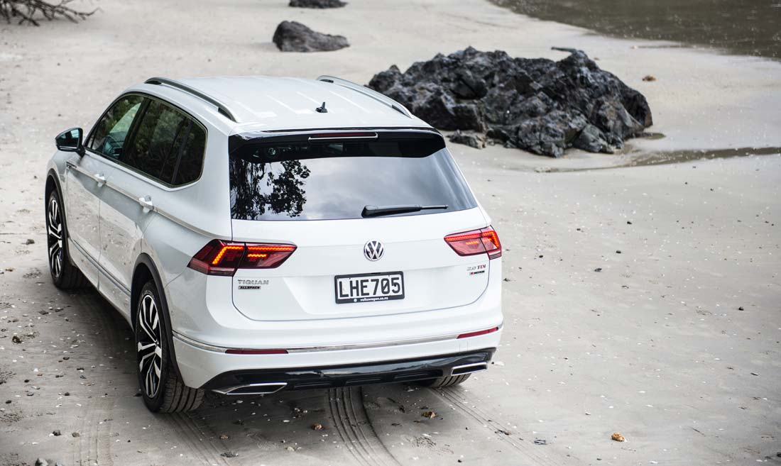 The Volkswagen Tiguan Allspace R-Line in white on a beach