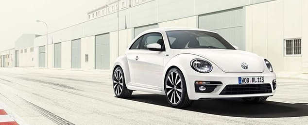 The Volkswagen Beetle in white