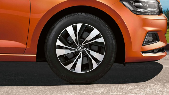 Close-up of the 2018 VW Polo's alloy wheels